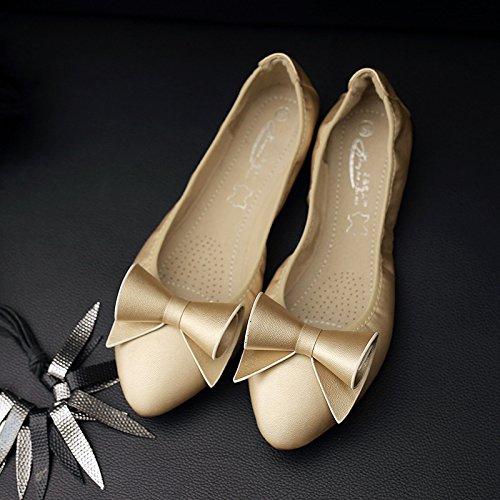 De GAOLIM Zapatos Volumen Zapatos Tortillas Blando Zapatos De Zapatos Fondo Negro De Plano El Embarazada Mujer Mujer Fondo De Oro Solo De Zapatos Punta rr8CwOq