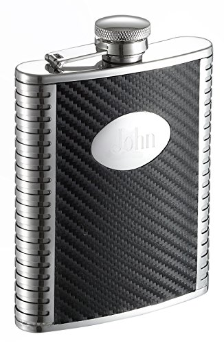 Personalized Carbon Fiber Stainless Steel 6 oz Flask, Free Engraving