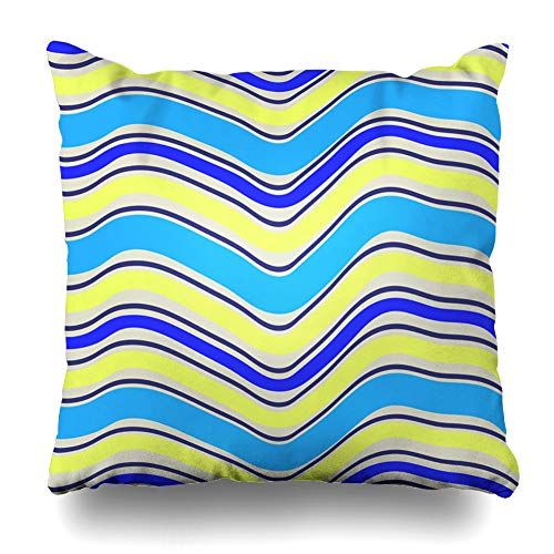(Ahawoso Throw Pillow Cover Yellow Arc Abstract Stripped Geometric Striped Blue Black Contemporary Curve Elegance Design Decorative Pillowcase Square 18