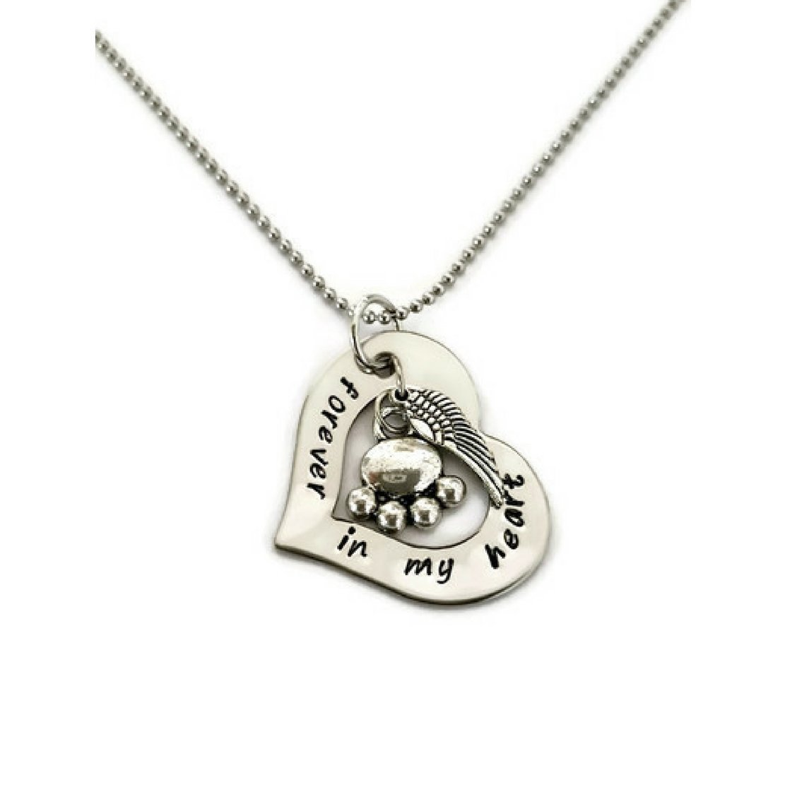 Pet Memorial Necklace, Hand Stamped Necklace for Women or Men