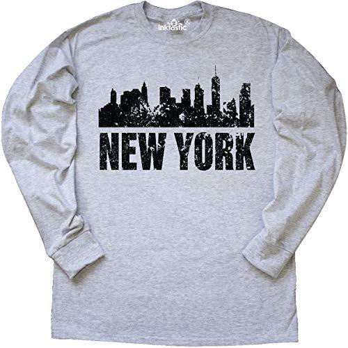 inktastic - New York Skyline Grunge Long Sleeve T-Shirt Small Ash Grey -