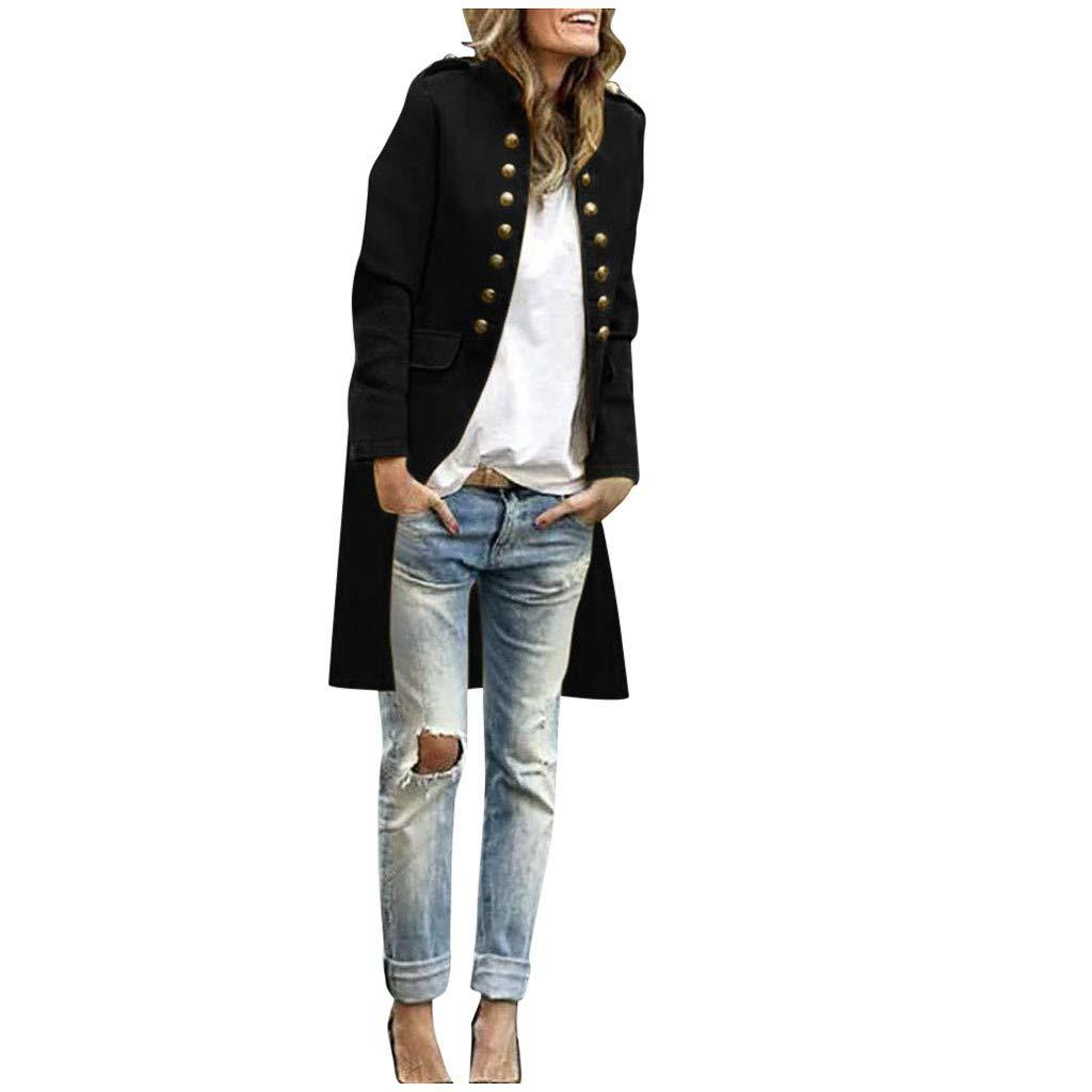 SHUSUEN Women Elegant Long Coat Button Down Cardigan Tops Formal Business Outwear Black by SHUSUEN