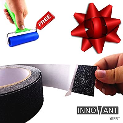 """INNOVANT 2"""" x 197"""" Industrial Strength Adhesion Anti Slip Safety Grit Tape Non Skid Traction Grip Water Resistant Best On Track Treads Ramps Stairs Pads Slippery Floor Indoors Outdoors (51mm x 5M)"""