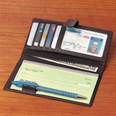 Cowhide Nappa Leather Checkbook / Secretary Leather Type: Black Supple, Bags Central