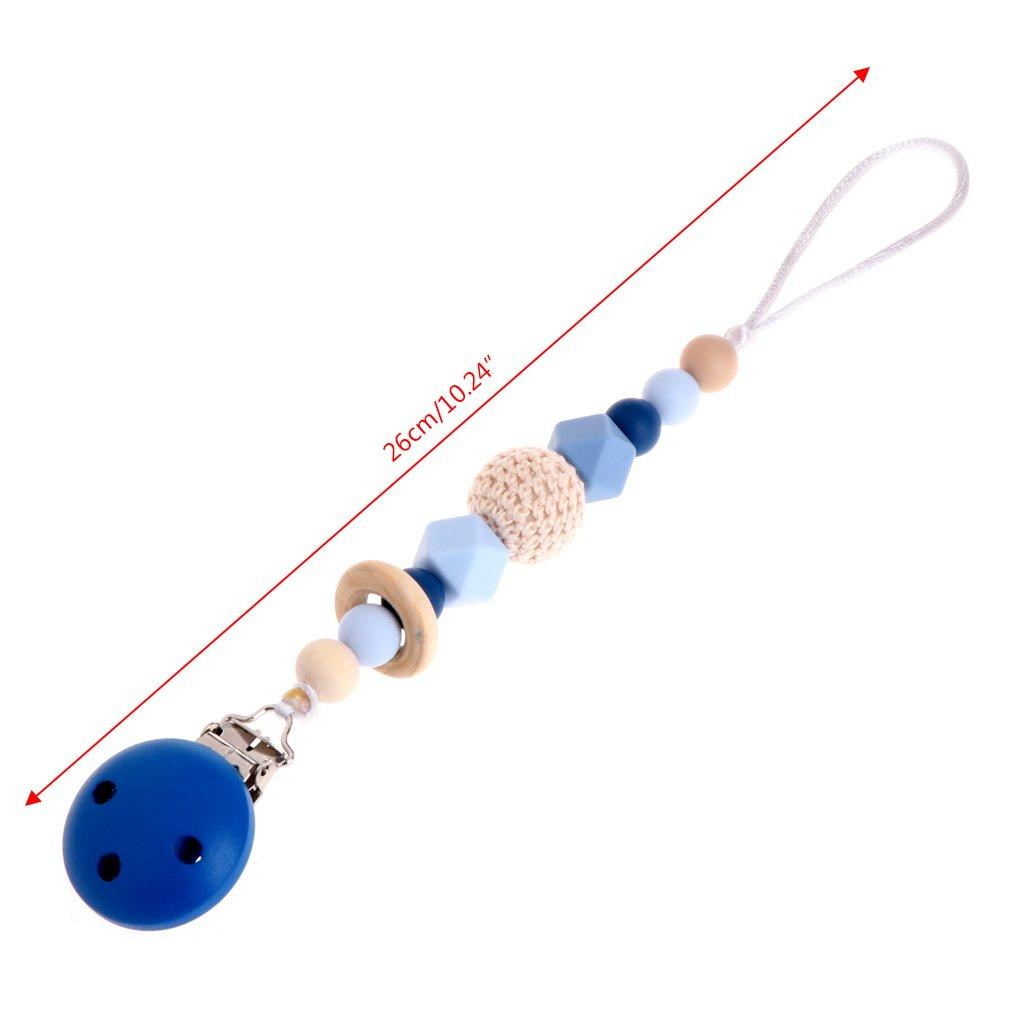 manyo Enfermedades Dummy silicona beb/é Chupete Clip Bead s/äugling Chupete Nippel Strap Chain