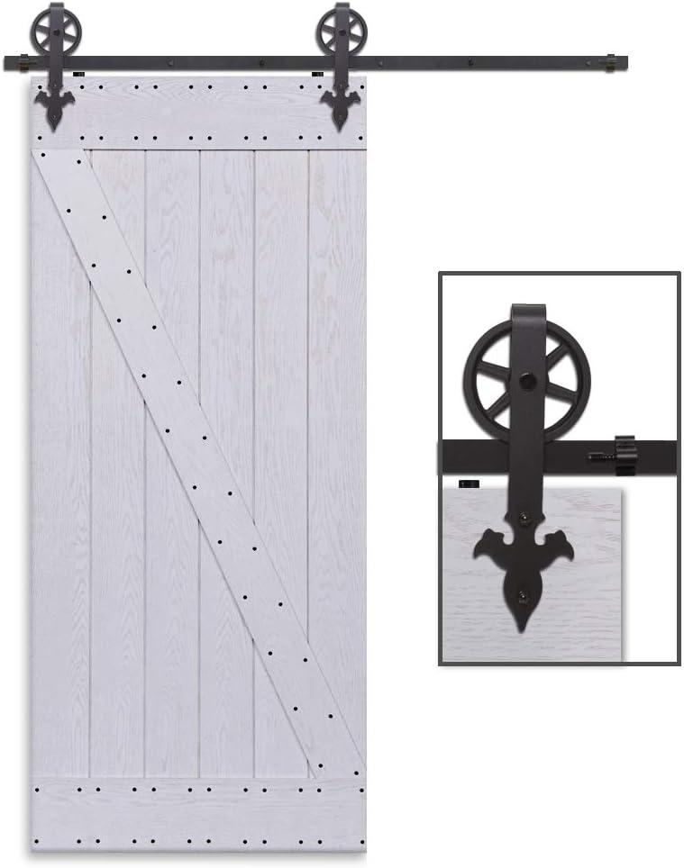 CCJH 6.6FT-200cm Rueda Grande Herraje para Puertas Kit de Accesorios para Puerta Correderas Juego de Armarios de Acero Corredizos para Puertas Corredera Riel Rueda para Puerta de Madera Individual