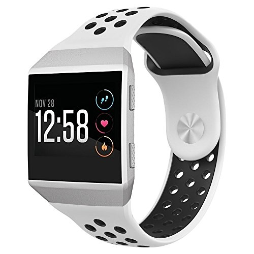 VODKE for Fitbit Ionic Bands, Soft Silicone Replacement Sports Watch Bands/Strap/Bracelet/Wristband Accessory for Fitbit Ionic Men Women Large (White+Black)