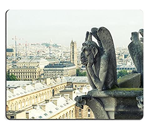 MSD Mousepad IMAGE 30506019 Stone demons gargoyle und chimera with city of Paris on background View from the tower of the Notre Dame vintage look (Funny Gargoyles)