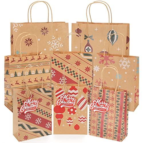 Starrky Christmas Gift Bags Set, 24 PCS Xmas Paper Bags 3 Sizes Bags Christmas Hand Bags Xmas Present Bags with Tags for Xmas Present Packaging Christmas Gifts Packing Christmas Decoration
