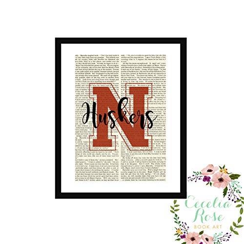 Nebraska Cornhuskers Huskers State Memorial Stadium Farmhouse Literary Typography Vintage Book Page Word Art Quote Print-Wall Art-Gift 9 x11 FRAMED Print ()