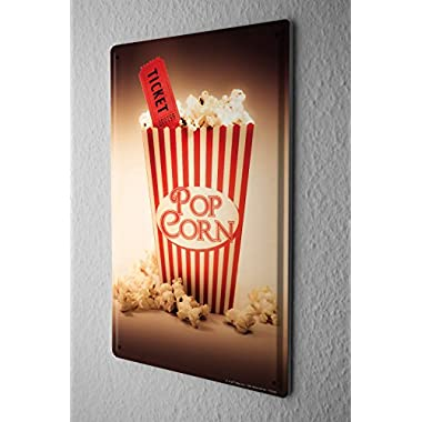 Tin Sign Jorgensen Photography Photo images popcorn cinema ticket movie ticket movie 20x30 cm Large Metal Wall Decoration Vintage Retro Classic Plaque