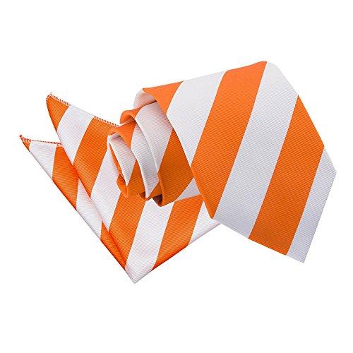 Fashion Standard with Hanky Colours Men's Pocket Striped DQT Necktie Business 9cm Handkerchief Woven Square Orange Premium Casual Matching White Tie Microfibre Regular Various amp; Classic Set AwqWXfHz