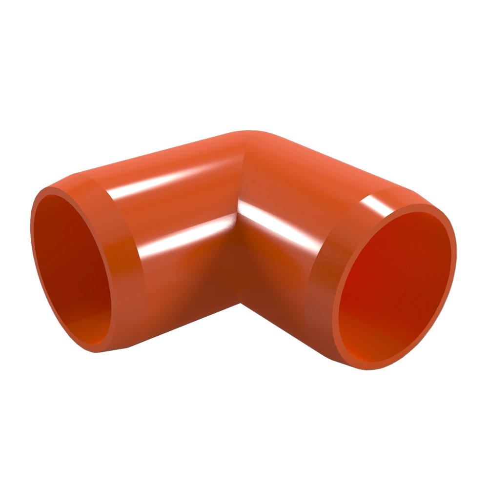 "FORMUFIT F03490E-OR-8 Elbow PVC Fitting, Furniture Grade, 90 Degree, 3/4"" Size, Orange (Pack of 8)"