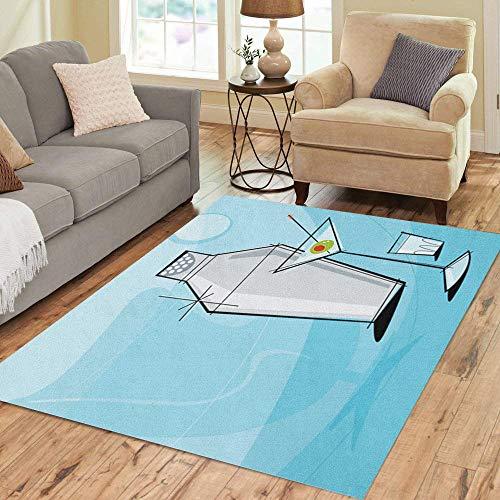 (Pinbeam Area Rug Retro Martini Vignette Shaker and Shot Glass Each Home Decor Floor Rug 2' x 3' Carpet)