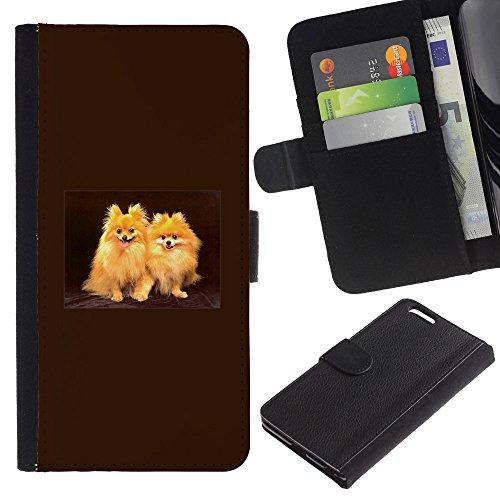 LASTONE PHONE CASE / Lujo Billetera de Cuero Caso del tirón Titular de la tarjeta Flip Carcasa Funda para Apple Iphone 6 PLUS 5.5 / Japanese Spitz Golden Coat Fur Dog