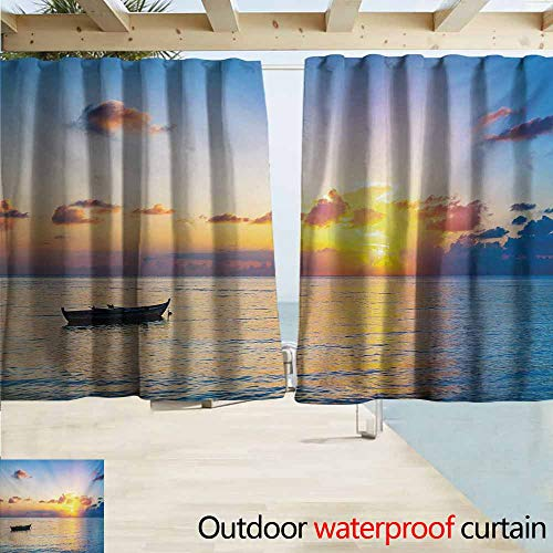 Wlkecgi Landscape Home Patio Outdoor Curtain Sun Rising Over Ocean on Maldives Seascape Photo Majestic Morning Scenery Perfect for Your Patio, Porch, Gazebo, or Pergola W72 xL63 Blue Coral Yellow