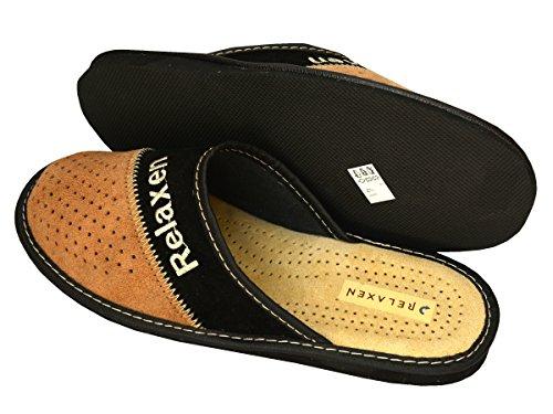 Mz06 50 Hombres de 47 48 Tamaños Grandes negro Pantuflas 49 Fieltro Zapatillas Beige Size Big amp; para Cuero FZqBxpEw6