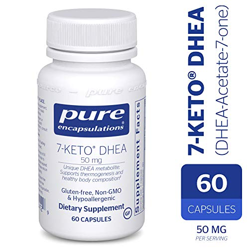 Dhea 50 Mg 60 Capsules - Pure Encapsulations - 7-Keto DHEA (DHEA-Acetate-7-one) 50 mg - Unique DHEA Metabolite - Hypoallergenic Dietary Supplement - 60 Capsules