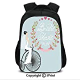 16' School Backpack Bookbags, Bride in Wedding Dress with Bicycle Flowers CollegeTravel Computer Notebooks Backpack for Teen Men Women Charcoal Grey and Baby Blue