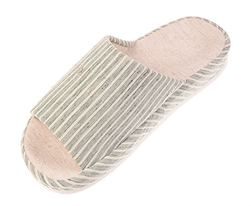 Bronze Times (TM) Unisex Vertical Stripes Indoor Cotton Flax House Slippers