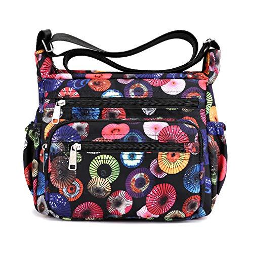 Womens Nylon Floral Shoulder Bag Crossbody Bag Messenger Bags Travel Handbags With Adjustable Strap Waterproof (B umbrella) ()
