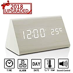Digital Alarm Clock,Zeekoo Wooden LED Alarm Clock With Displays Time Date And Temperature, Cube USB 4AAA Battery Powered Sound Control Desk Alarm Clock for Kid,Heavy Sleepers and Home Bedrooms(White)