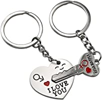 "Smallwise Trading Couple Keychain Keyring --- ""I Love You"" Heart + Key --- Lover Sweetheart Gift for Valentine's Day / Wedding Anniversary / Birthday"