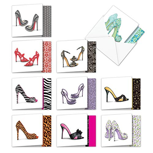 (Gotta Lotta Sole - Box of 10 High Heels Blank Greeting Cards with Envelopes (4 x 5.12 Inch) - Sandals, Shoes All-Occasion Note Cards for Women - Chic Notecard Set)