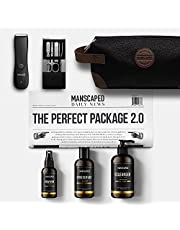 MANSCAPED™ Perfect Package 2.0 Kit Contains: The Lawn Mower™ 2.0 Electric Groin Hair Trimmer, Ball Deodorant, Body Wash, Performance Spray-on-Body Toner, Luxury Nail Kit, Toiletry Bag, Shaving Mats