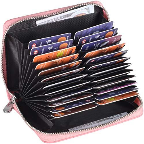 Easyoulife Genuine Leather Credit Card Holder Case RFID Travel Passport Wallet (Pink)
