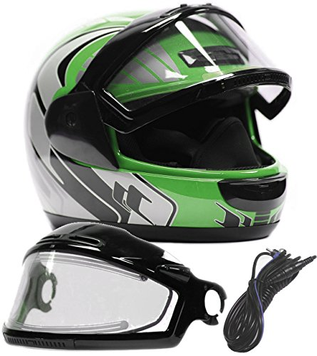 Typhoon Helmets Adult Snowmobile Helmet with Electric Heated Shield Mens Womens Full Face Dual Lens - Green (XXXL) Electric Snowmobile Shield