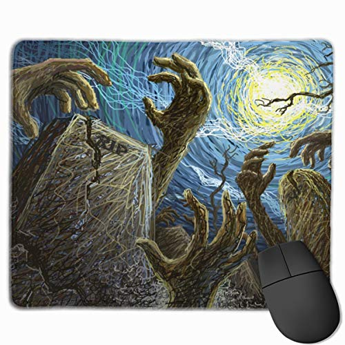 Scary Graveyard Night Hallowmas Halloween Mouse Pad 7.08X8.66 inches/18X22 cm with Decor,Anti-Skid Rubber Mouse Pad,with Stitched Edges ()