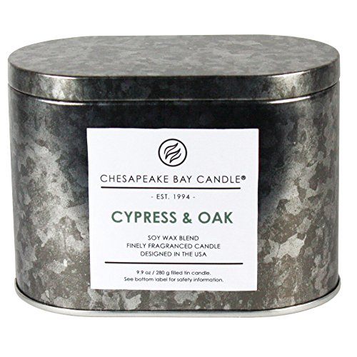 Chesapeake Bay Candle Tin with Double Wick Scented Candle, Cypress & Oak