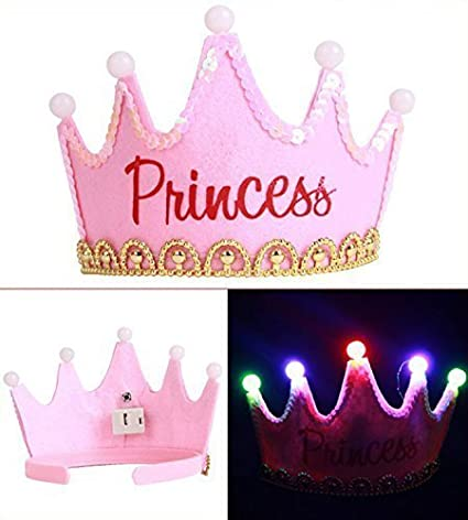 buy west feen happy birthday crown hat pink princes crown with led