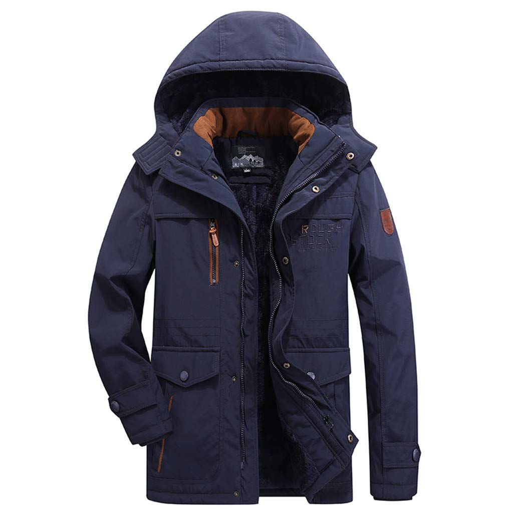 LUCAMORE Men's Winter Warm Faux Fur Lined Coat with Detachable Hood Big & Tall Thicken Parka Jacket Plus Size Blue by Luca-Coat