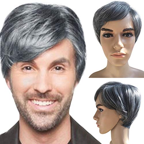 Mens Short Straight Dark Root White Wig Two Tone Halloween Costume Cosplay (a)