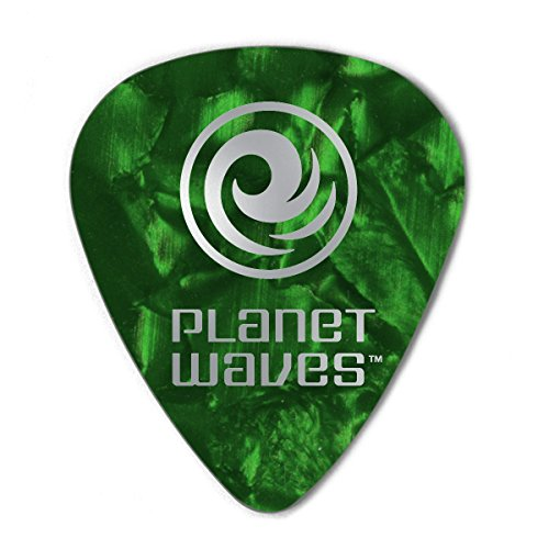 Planet Waves Green Pearl Celluloid Guitar Picks, 25 pack, Medium (Planet Waves Picks Guitar Green)