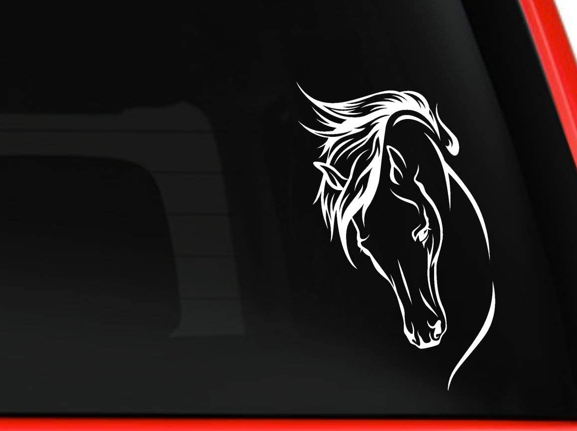 Horse Head beautiful silhouette for car truck laptop macbook window decal sticker approx. 8x4 inches (white)