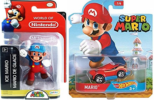 "Cartoon Hot Wheels Character Car 2017 Super Mario Video Game Car & World of Nintendo 2.5"" Ice Mario Action Mini Figure Pack"