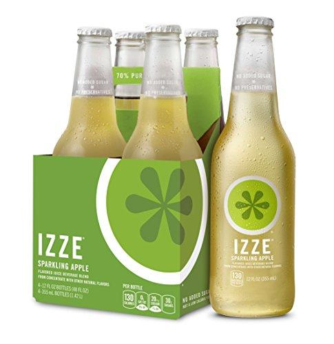 IZZE Sparkling Juice, Apple, 12 oz Glass Bottles, 4 Count