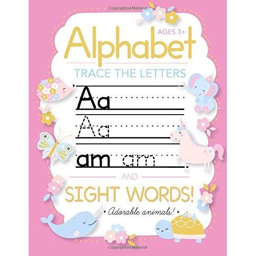 trace letters of the alphabet and sight words preschool practice handwriting workbook pre k