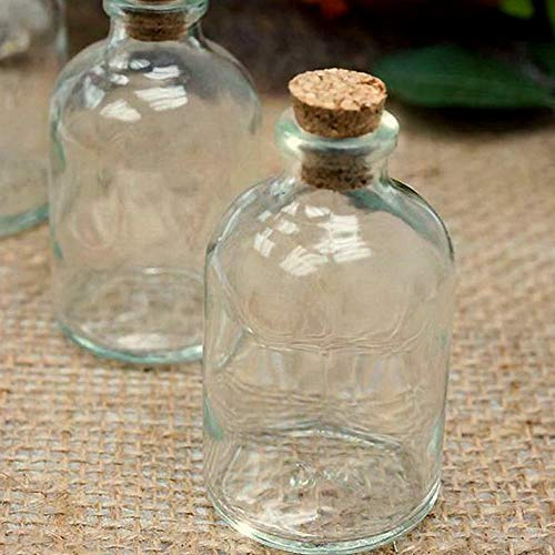 Mikash 3 Clear Glass Favor Round Bottles with Cork Wedding Party Favors Decorations | Model WDDNGDCRTN - 17331 | 24 ()