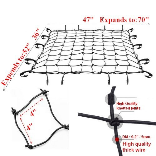 Swiss Part Black Rooftop Cargo Net Set 47 x 36 Stretches to 70 x 52 with 18 Adjustable Hooks for Car Roof Rack Basket Truck Bed Rear Netting