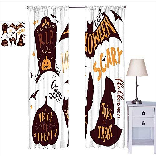 W Machine Sky Vintage Halloween Kids Curtain Halloween Symbols Trick or Treat Bat Tombstone Ghost Candy Scary Short Curtain Dark Brown Orange W84 x -