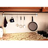 "Wall Mounted Pan Pot Rack Kitchen Utensils Hanger Organizer Lid Holder 39"" Stainless Steel 15 Hooks Multipurpose"