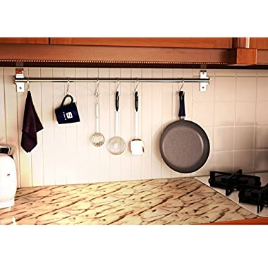 Wall Mounted Pan Pot Rack Kitchen Utensils Hanger Organizer Lid Holder 39  Stainless Steel 15 Hooks Multipurpose