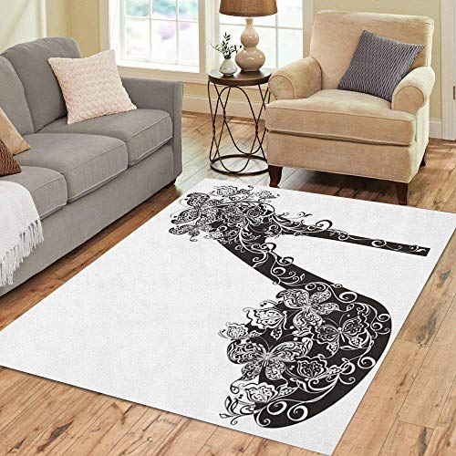 Semtomn Area Rug 5' X 7' Stiletto Shoes on High Heel Decorated Flowers and Butterflies Home Decor Collection Floor Rugs Carpet for Living Room Bedroom Dining Room