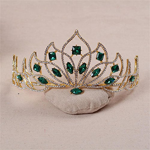 FUMUD Fashion Magnificent Green/Red Rhinestone Bridal Tiaras Noble Crystal Crown for Women Wedding Pageant Hair Jewelry Accessories ()
