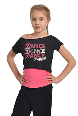 7fd0679f062 PINEAPPLE DANCEWEAR GIRLS DANCE Double Layer Top Pink/Black Silver ...