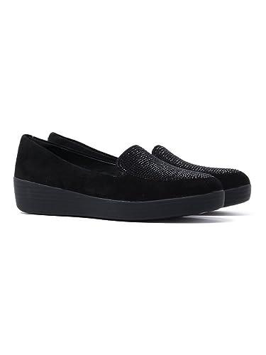 3a8b20b97b5 FitFlop Frauen Sparkly Sneaker Loafers - Schwarz, Schwarz, 36 ...